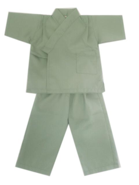 リネン対応 ワッフル生地 子供用作務衣 ブルーグリーン 5枚セット【館内着】【業務用】
