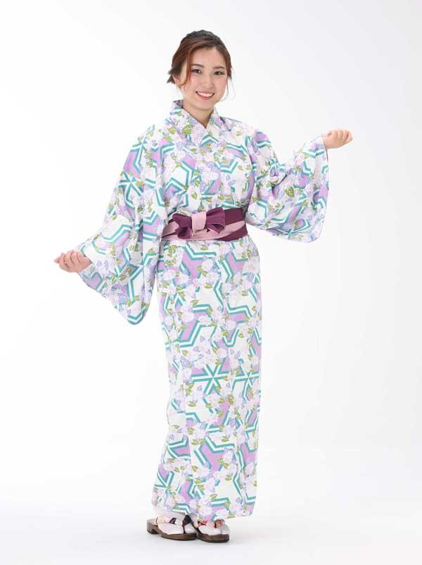 【浴衣と帯のセット】日本製 紫陽花(あじさい)旅館浴衣【業務用】【遠州織物】