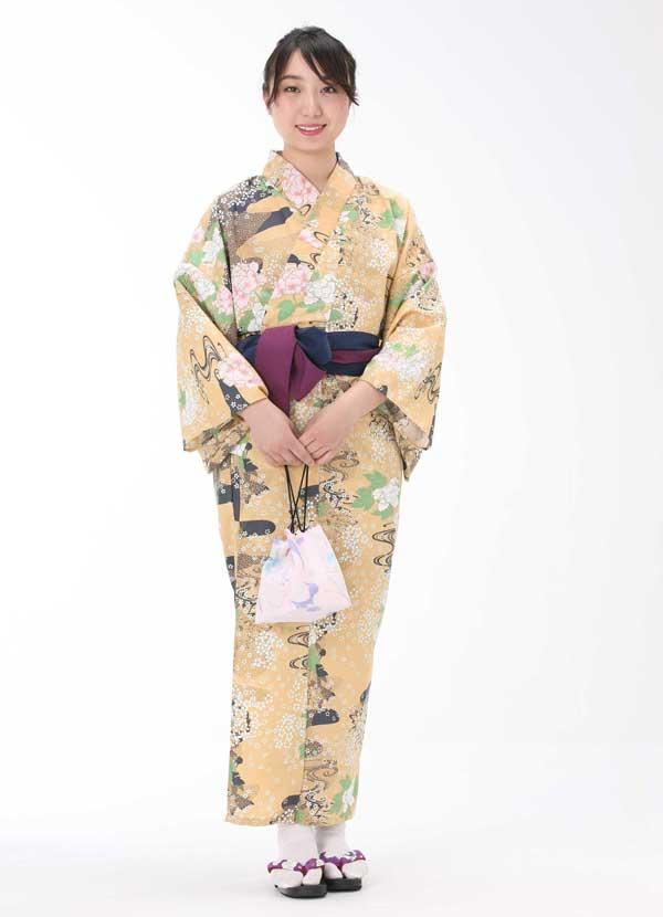 【浴衣と帯のセット】日本製 浜名湖の風 ぼたん(はまなこのかぜ ぼだん)旅館浴衣【業務用】【遠州織物】