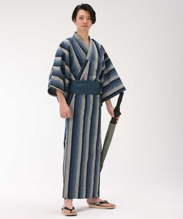 【浴衣と帯のセット】遠州綿紬 日本製 夜富士(よふじ)旅館浴衣【業務用】