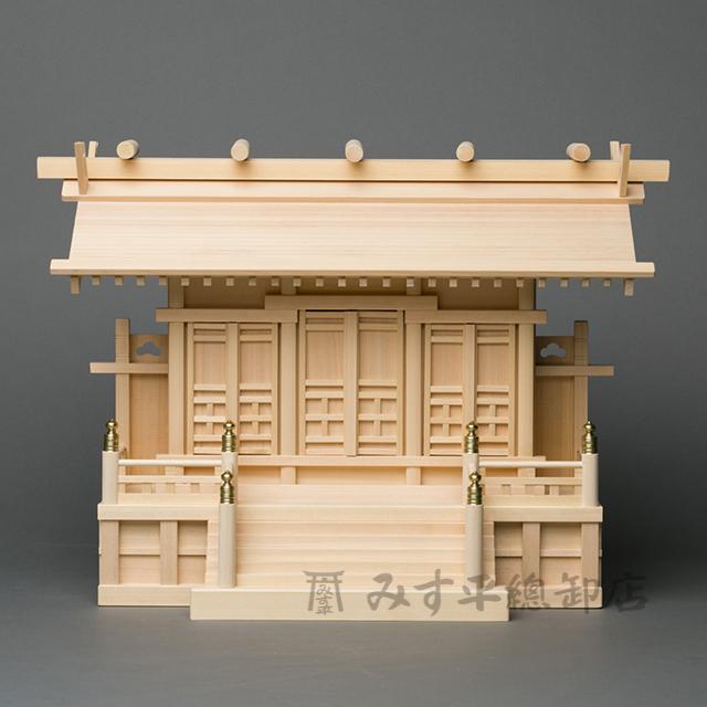 横通三社宮 板屋根(柾 普及型 1尺8寸) 神棚 モダン デザイン シンプル 高級神棚 お宮 御宮 木曽桧 日本製 国産 職人手作り