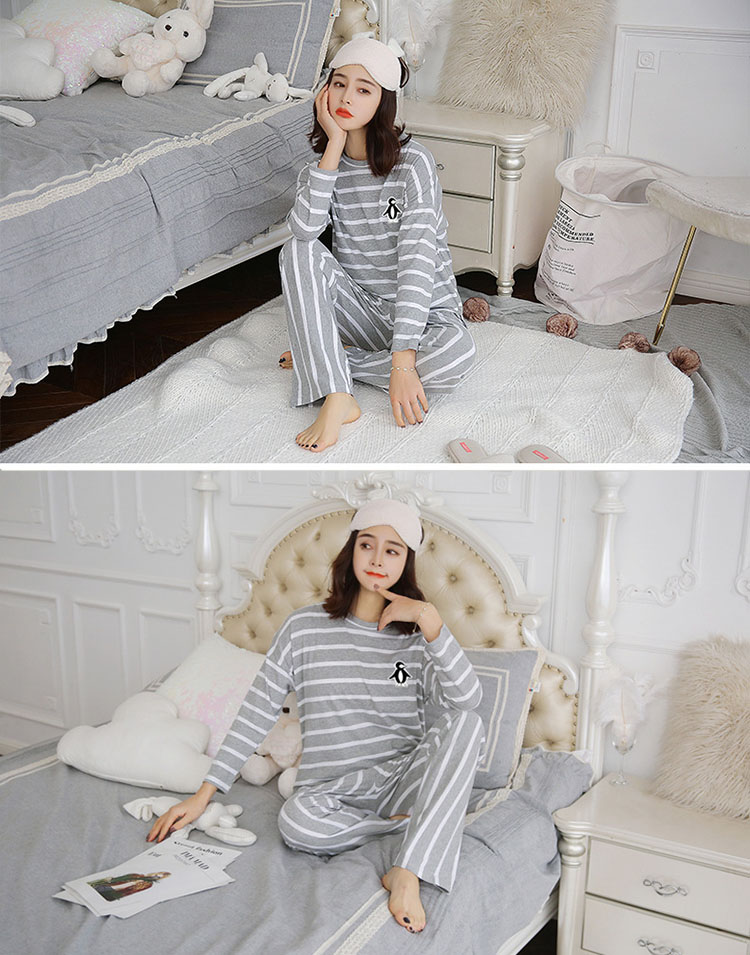 a74c5f8b3e Top and bottom set setup long sleeves pajamas pretty horizontal stripe  roomware ladies  room wear room chrysanthemum covered with cotton blend  2018 new work ...
