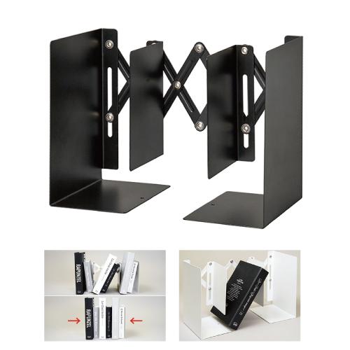 収納物に合わせてサイズを調節可能 カール せいとん 品質保証 ブックエンド 返品不可 伸縮型蛇腹編 CARL カール事務器 ホワイト本立て ブラック ブックスタンド