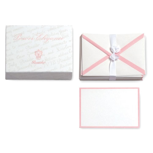 【Pineider】ピネイダー Power Elegance 25枚のカードと25枚の封筒のレターセット ホワイトーピンク 送料無料 ラッピング無料Box of 25 cards + 25 envelopes 15.3×11