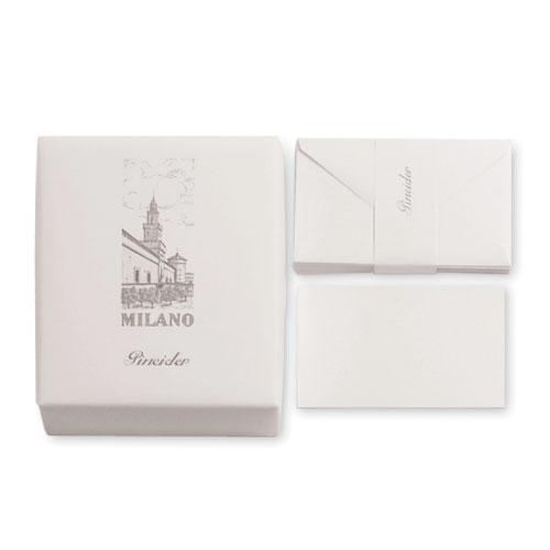 【Pineider】ピネイダー MILANO 25枚の紙と25枚の封筒のレターセット ホワイト 送料無料 ラッピング無料Box of 25 cards + 25 envelopes 13.5×8.5