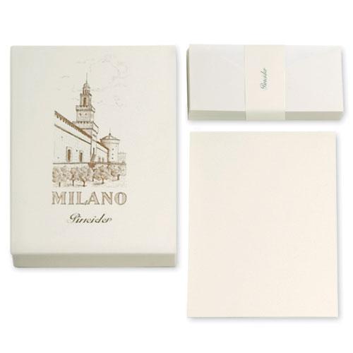 【Pineider】ピネイダー MILANO 50枚の紙と50枚の封筒のレターセット ホワイト 送料無料 ラッピング無料Box of 50 cards + 50 envelopes A4 21×30