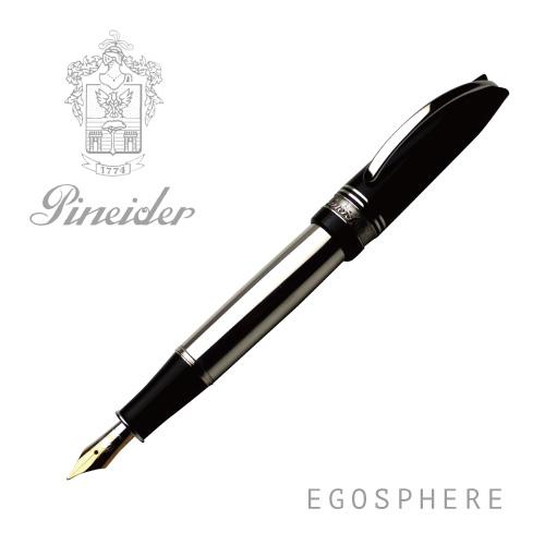 Pineider ピネイダー EGOSPHERE ブラック メタルボディ 万年筆 M ペン NERO 送料無料 ラッピング無料