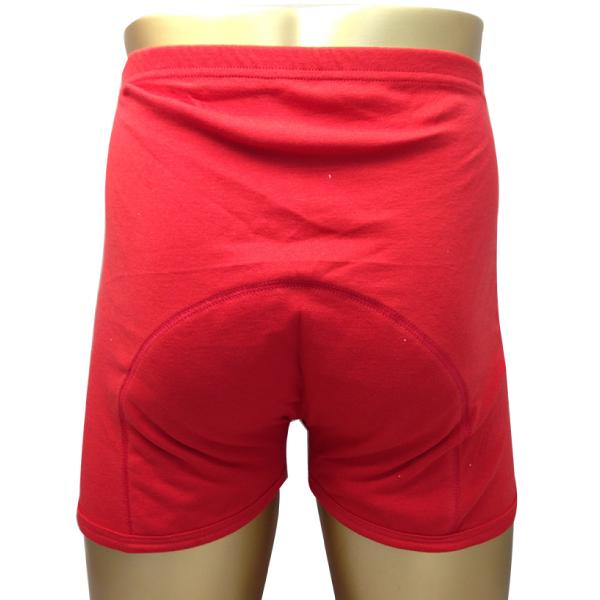 男性尿失禁的内裤尿漏裤子红色短裤 (水吸收 100 cc) 尿失禁类型脱衣裤男子