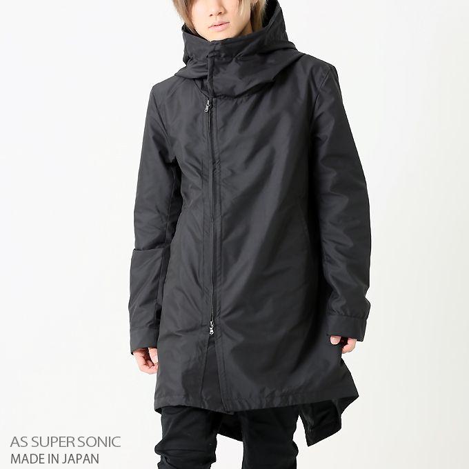 コート メンズ フード付き モッズ ボリュームネック アウターメンズ 秋冬 日本製 ブラック ホワイト AS SUPER SONIC