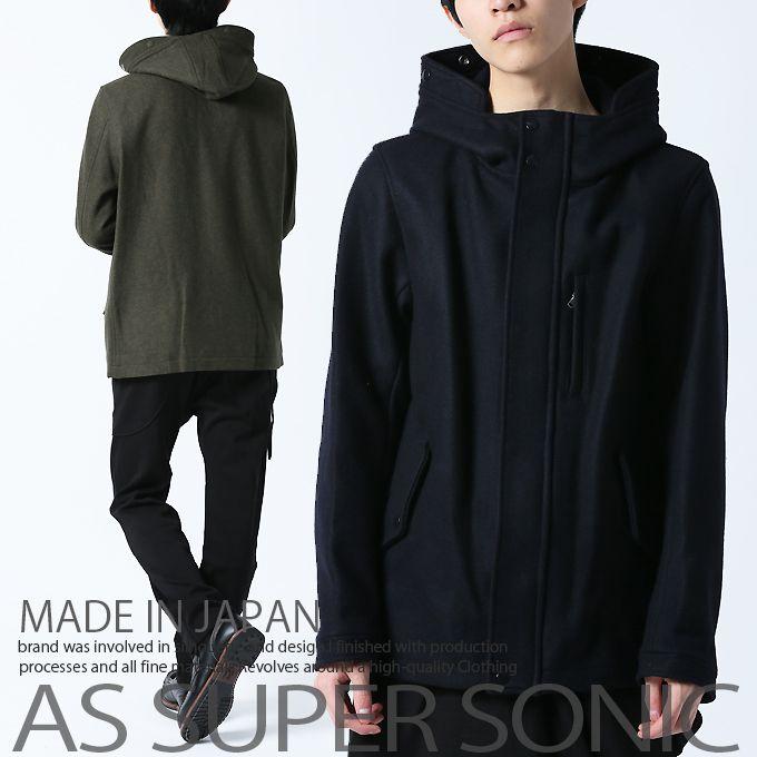 ブルゾン メンズ ウール ジャンパー ハイネック ショート丈 メンズファッション アウター 秋冬 日本製 AS SUPER SONIC