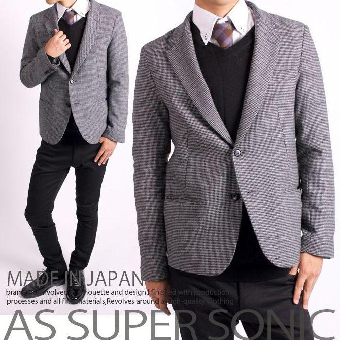 ジャケット メンズ ツイードジャケット ウール ショートジャケット 日本製 AS SUPER SONIC