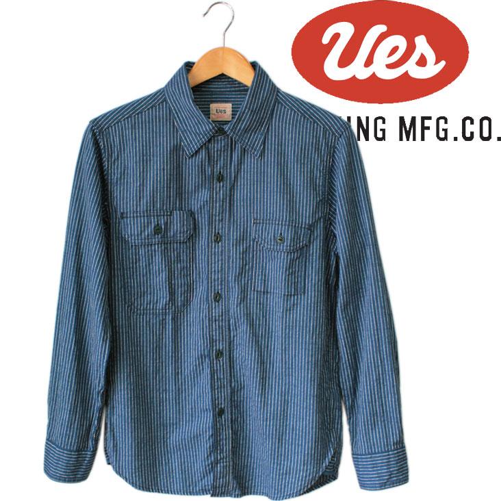 UES ウエス ワークシャツ デニムシャツ インディゴ シャツ メンズ 長袖