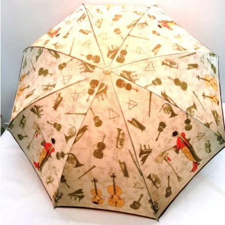 最高級 折りたたみ傘 甲州産ほぐし織 楽器柄 軽量 日本製折傘 日本製 雨傘