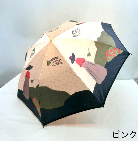 ♪ 高級 婦人のガーデニング柄 軽量2段式折傘 雨傘 折りたたみ傘日本製 甲州産ほぐし織 ギフトにも