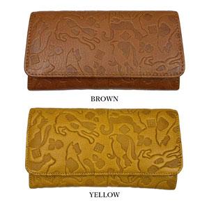 金運財布 黄色 猫柄 ギャルソン型 長財布 ロングウォレット Yellow cat pattern long wallet