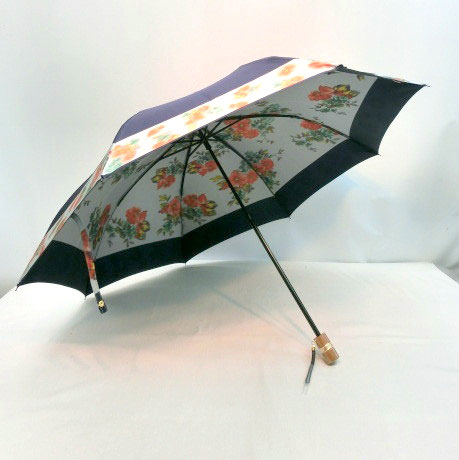 ♪ 高級 雨傘 折りたたみ傘 日本製 S巾甲州産 ホグシ織 花柄 軽量レディース用