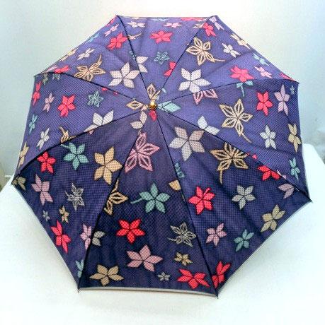 ♪ 高級 雨傘 折りたたみ傘 日本製 甲州産 ホグシ織 植物 カエデ柄 軽量レディース用 ギフトにも