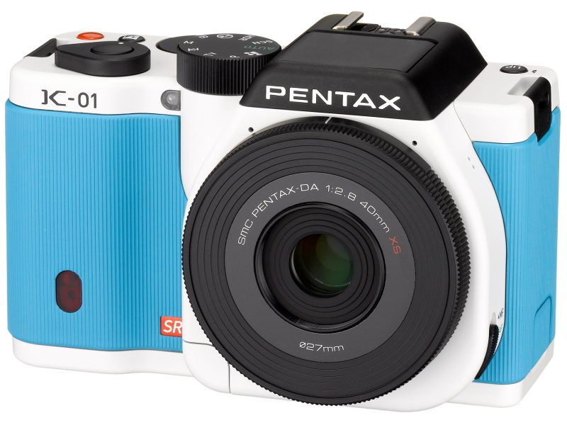 PENTAX k-01 Lens Kit white x blue ships appointment in 1-3 business days after Marc Newson's mirrorless K Mount machine 4549212273506