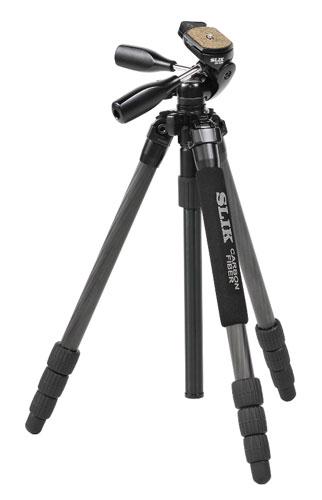 [送料無料]SLIK ライトカーボンEシリーズE74 [シンプル装備でお手頃価格、コンパクトに持ち運べる25mmパイプ径 中小型カーボン三脚・4段タイプ。軽量デジタル一眼レフにおすすめ。]【smtb-TK】