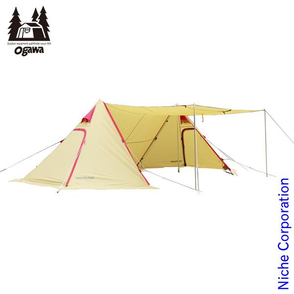 オガワキャンパル ツインピルツフォーク (サンド×レッド) 3342 テント タープ
