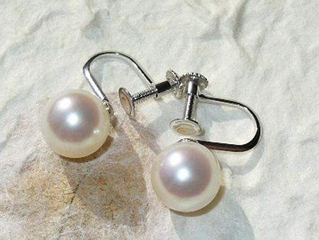 8ミリパールイヤリング(あこや真珠/ピンク色)
