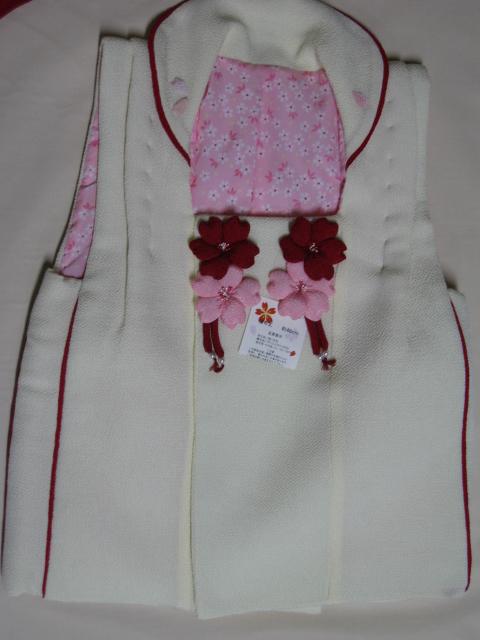 【七五三 被布コート】 七五三着物 三才被布コート正絹 白いヒフコート桜のリボン付 送料無料