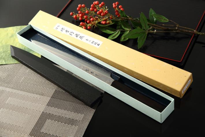 堺孝行 飛燕 青二鋼鏡面 剣型柳刃 300mm