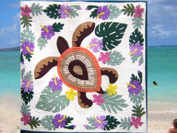 ☆月9ドラマなど美術協力ショップ☆ハワイのお店にも売っているハワイアンキルト!マリン系☆オーダーメイド☆タペストリー サイズ約107cm×107cmht00100