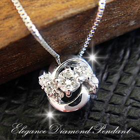 ダイヤモンド 4月誕生石 miwahouseki smtb-ms 送料無料 絶品 在庫あり K18ホワイトゴールドエレガンスデザインダイヤモンドペンダント 10SHI-QSHU