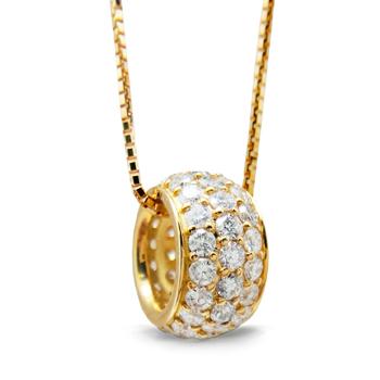 [送料無料] 豪華 1カラット 美しい輝き ダイヤモンドパヴェ ネックレス K18 ピンクゴールド 贈り物に最適人気のサークルデザイン! [ミワホウセキ] miwahouseki