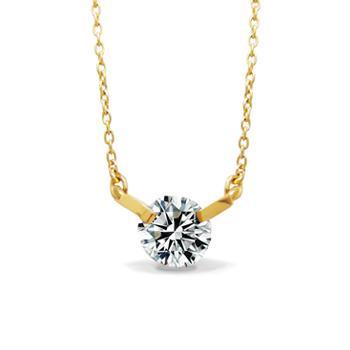 [送料無料] 大人可愛い 華奢 一粒 ダイヤモンド 0.1カラット 4月 誕生石 K18 イエロー ゴールド シンプル ネックレス贈り物に最適 [ミワホウセキ] miwahouseki