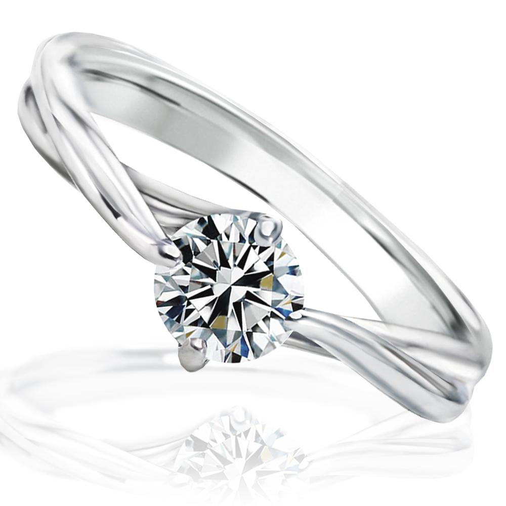 婚約指輪 プロポーズ エンゲージ リング大粒 0.4カラット 無色透明 Fカラー VS2 最高の輝きを放つトリプルエクセレントカット ダイヤモンド 送料無料