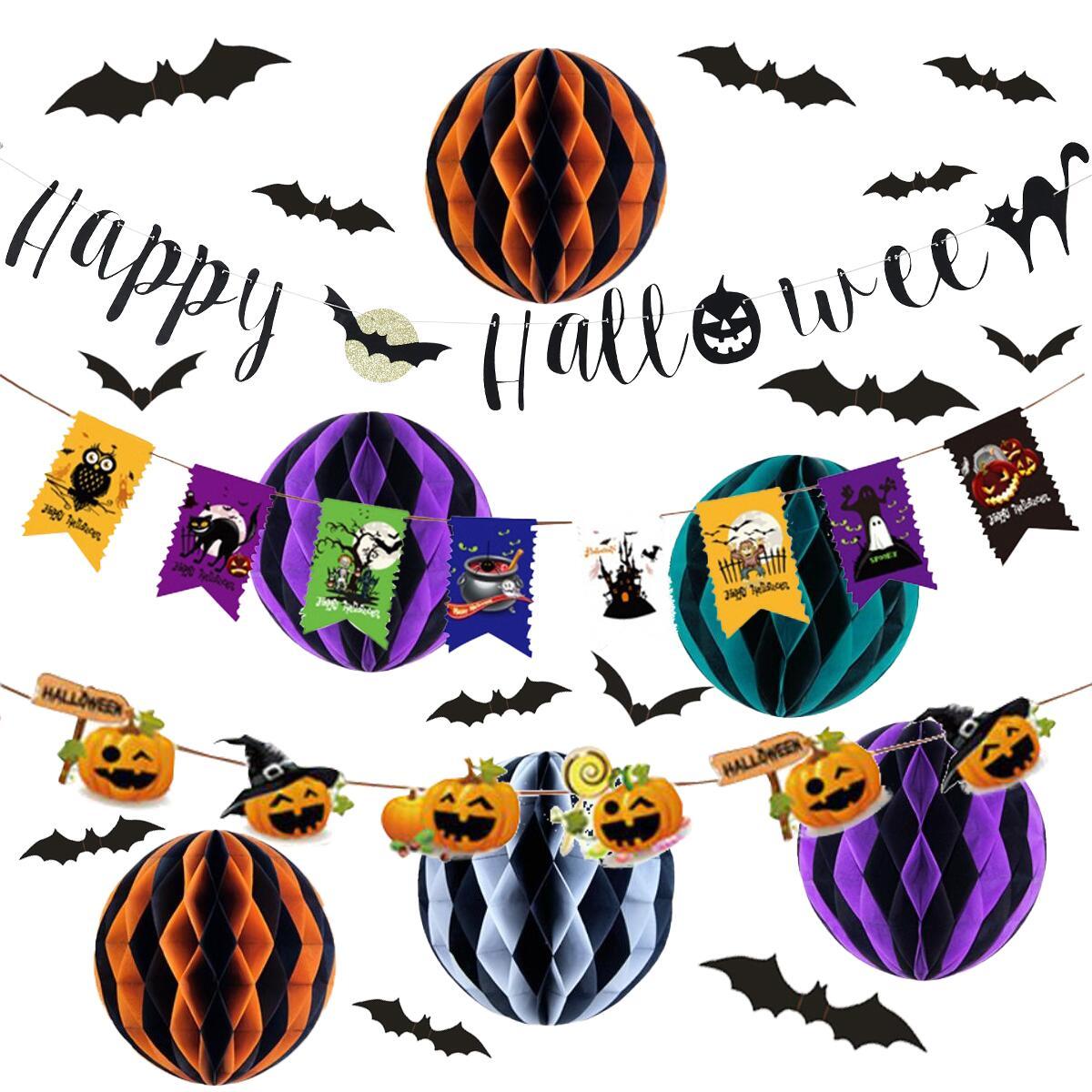 簡単 飾りつけ 永遠の定番モデル ハロウィン 豪華21点 セット ディスプレイ パーティー イベント 飾り ディスプレー ハロウィンパーティーやイベントシーンにお部屋を飾りつけ \ 割引クーポン有り ガーランド 吊り下げ コウモリシール 21点セット ハロウィーン 飾り付け 迅速な対応で商品をお届け致します 装飾 ハニカムボール 壁 オーナメント 豪華 Halloween