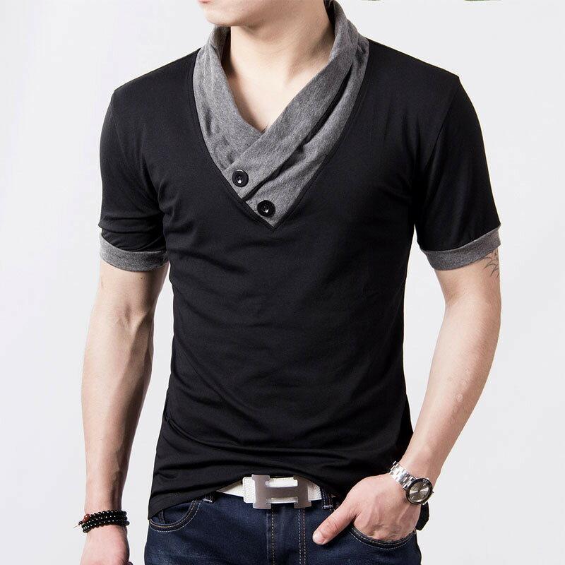 Tシャツ メンズ 半袖 Vネック 無地 カットソー スリム 襟付き 大きいサイズ ドライ 五分袖 おしゃれ ちょい悪 アメカジ ワイルド 飾りボタン コットン M L XL XXL サイズ 衣装 ダンス ステージ衣装