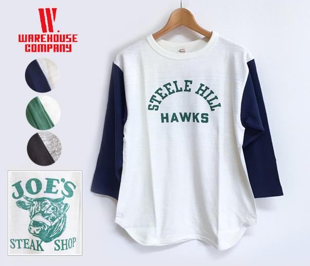 WAREHOUSE ウエアハウス 4800 七分袖 ベースボール Tシャツ HAWKS