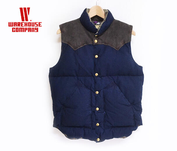 WAREHOUSE ウエアハウス ROCKYMOUNTAIN×WAREHOUSE INDIGO DUCK DOWN VEST LONG WASH ダウン ベスト