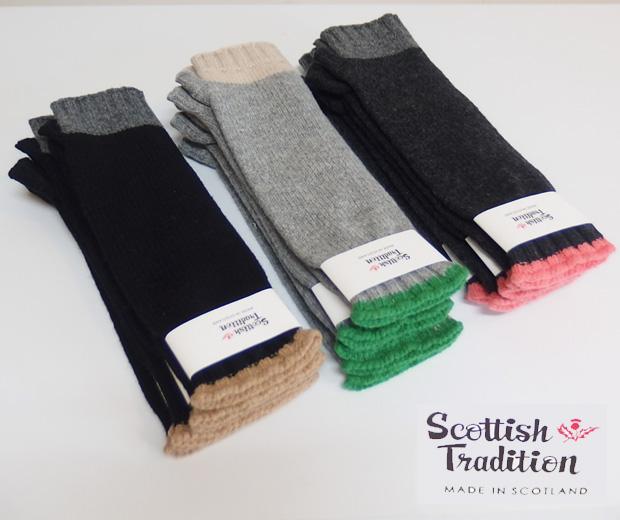 SCOTTISH TRADITION スコティッシュ トラディション FINGERLESS LONG MITT PANEL GLOVE ウール ロング手袋 1604