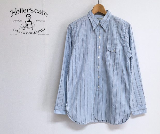 HELLER'S CAFE ヘラーズカフェ 1910's Yorke Brand Coat Style Stripe Shirts 【S】
