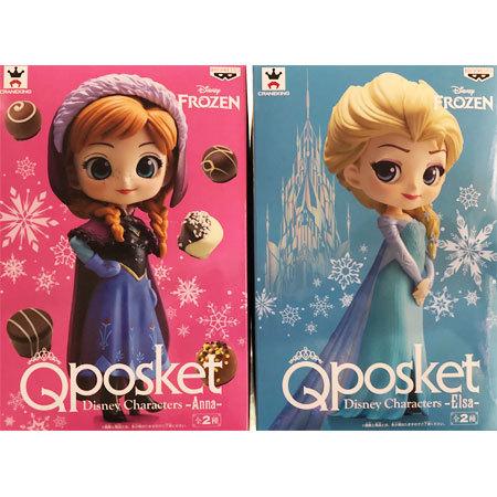 【送料無料】新品 Q posket Disney Characters Anna&Elsa アナと雪の女王 アナ&エルサ ノーマルカラーver. 2種セット