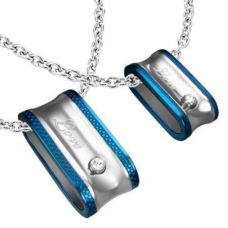 プラトニックラブペンダント(ペア)青色 サージカルステンレス316L ネックレス パーツ メンズ レディース トップ ペア ステンレスペンダントトップ ステンレスパーツ アクセサリー チョーカー ピアス 首飾り 丈夫 金属アレルギー
