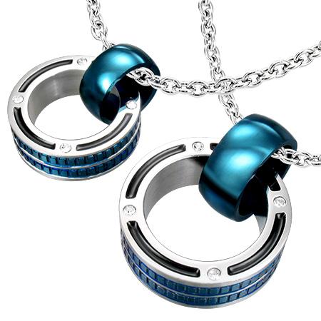 イクサペンダント(ペアセット)青色 ブルー リング サージカルステンレス316L ネックレス パーツ メンズ レディース トップ ペア ステンレスペンダントトップ ステンレスパーツ アクセサリー チョーカー ピアス 首飾り 丈夫 金属アレルギー