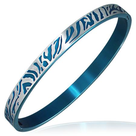 ゼブラリング ステンレス バングル ブルー 青色 アームレット 腕輪 サージカルステンレス316L メンズ レディース 手首 アクセサリー 二の腕 腕 ブレスレット 固定型 リング型 楕円形 プレゼント ギフト シマウマ おしゃれ おもしろ 面白い リングバングル 結婚式 パーティ