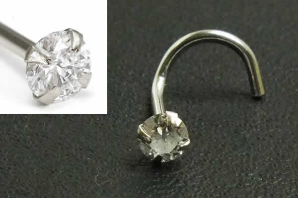 [ 14金 ホワイトゴールド ダイヤモンド 鼻ピアス 20G ] 小さい 小さめ ダイヤ 品質(クラリティ SI 1.5mm)K14WG 20ゲージ 本物 14金ゴールド ギフト プレゼント 高級 ボディピアス メンズ レディース カラット スクリュウ 白金 ノーズスクリュー カーブ 曲がってる ツイスト