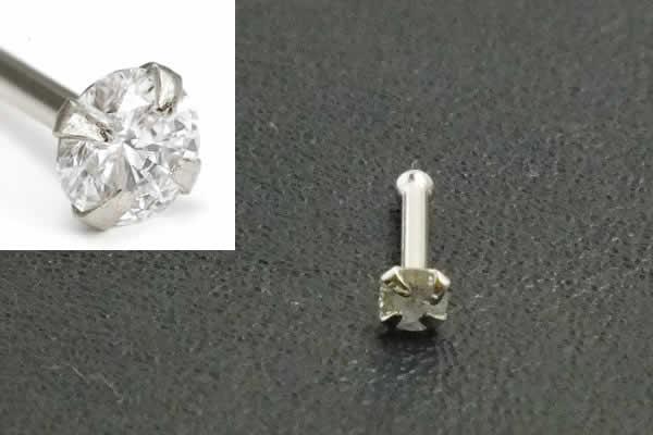 [ 14金 ホワイトゴールド ダイヤモンド 鼻ピアス 20G ] 小さめ 小さい ダイヤ 品質(クラリティ SI 2.0mm)K14WG 20ゲージ 本物 14金ゴールド ギフト プレゼント 高級 ボディピアス メンズ レディース カラット ストレート ノストリル 白金 ノーズスタッド 2mm 2ミリ