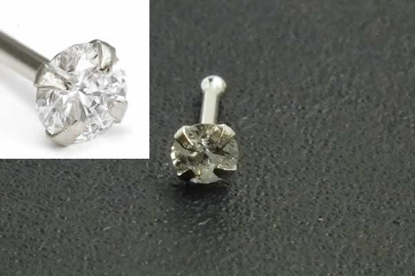 [ 14金 ホワイトゴールド ダイヤモンド 鼻ピアス 20G ] 小さめ 小さい ダイヤ 品質(クラリティ SI 2.5mm)K14WG 20ゲージ 本物 14金ゴールド ギフト プレゼント 高級 ボディピアス メンズ レディース カラット ストレート シャフト ノストリル 白金 ノーズスタッド