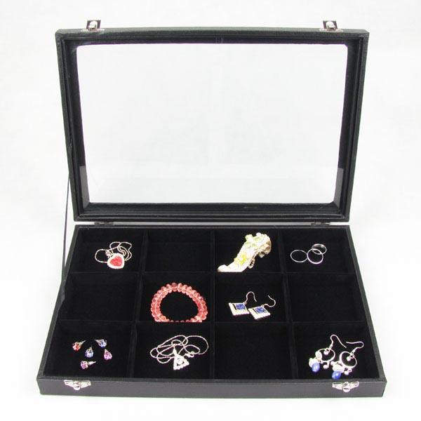 ガラスディスプレイケース(アクセサリー用) ジュエリーボックス ブラック ベルベット 収納 ピアス 指輪 イヤリング ネックレス ペンダント ボディピアス アクセサリー プレゼント ディスプレイ ケース ショーケース コレクションボックス 12マス 12個 フェイクレザー