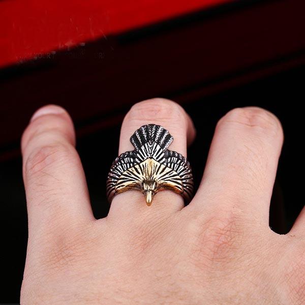 ゴールデンイーグルステンレスリング RMT077 サイズ 26号 27号 28号 29号 30号 鷲 ワシ 鳥 金色 おもしろ ユニーク 指輪 サージカルステンレス316L メンズ レディース ペアリング プレゼントv0wN8nOmy