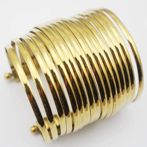 カナーヴォンステンレスバングル 蛇腹 17連バングル ゴールド 金 腕輪 サージカルステンレス316L アームレット ステンレス バングル メンズ レディース 二の腕 低アレルギー 高級 ステンレスアクセサリー 手首 ステンレスブレスレット ペア