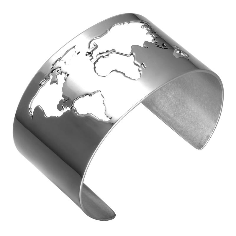 ワールドマップステンレスバングル 世界地図 おもしろ 面白い ワイド 幅あり 腕輪 サージカルステンレス316L アームレット 男性 高級 メンズ レディース 二の腕 金属アレルギー 手首 ステンレスブレスレット ペア 固定型 カフ型バングル プレゼント ユニーク