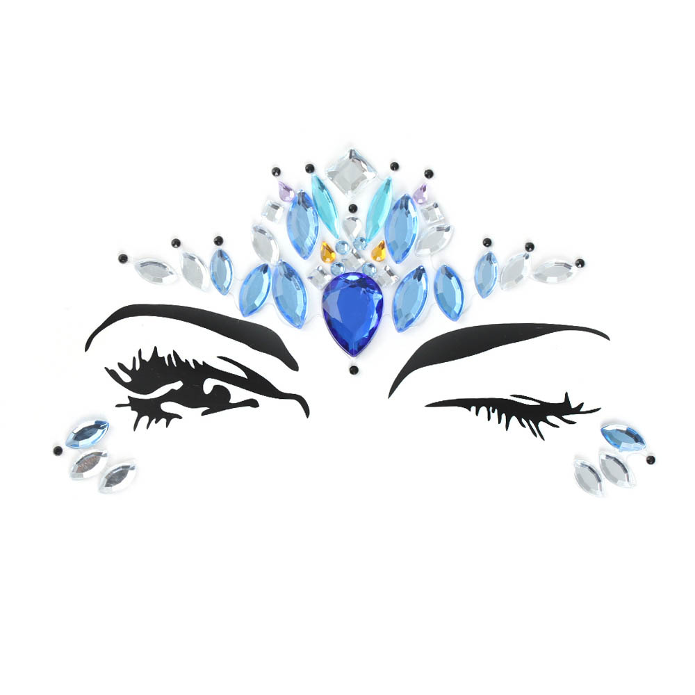 [仮装 パーティー ハロウィン ナイト カーニバル 祭り クラブ] フェイス用(目元・アイブロー用) ジェムボディステッカー (アイスブルー) 1シート 貼る シール アクセサリー クリスタル レディース ダンサー 女子 大人 ダンス 水着 身体 腕 顔 腹 ラインストーン アイシャドウ アイライン 眉 顔面 青色 氷の女王 ティアラ メイク